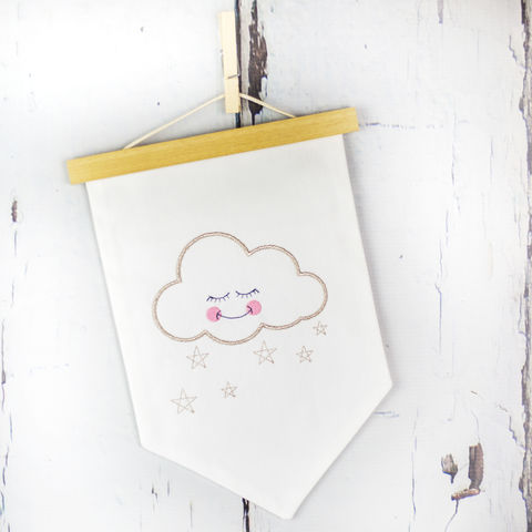 Sleepy,Cloud,Fabric,Wall,Hanging