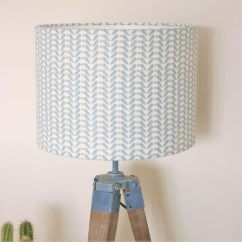 Scandinavian,print,linen,lampshade, linen, lighting, Scandinavian, duck egg blue, grey, pink