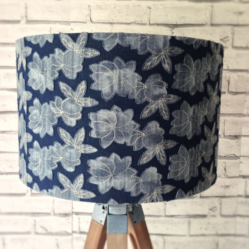 Denim floral lampshade - product images  of