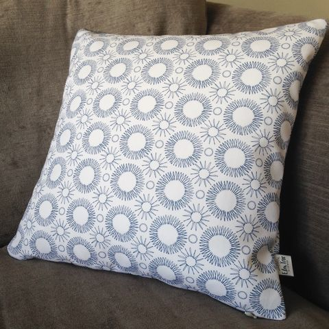 Aster,Flower,print,cushion,scandi, flower, indigo, denim, cushion