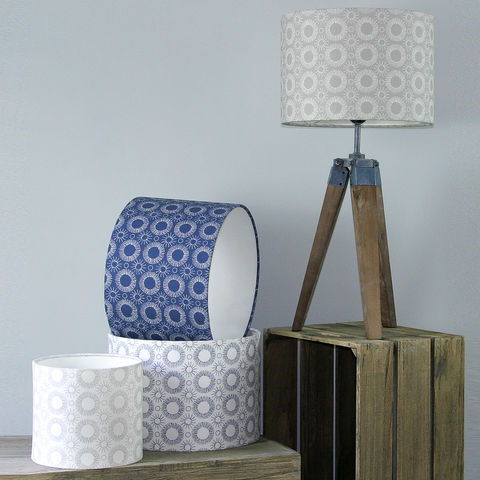 Aster,Flower,print,lampshade,White/Indigo, lighting, Scandinavian, blue, denim, indigo, flower, scandi, embroidery