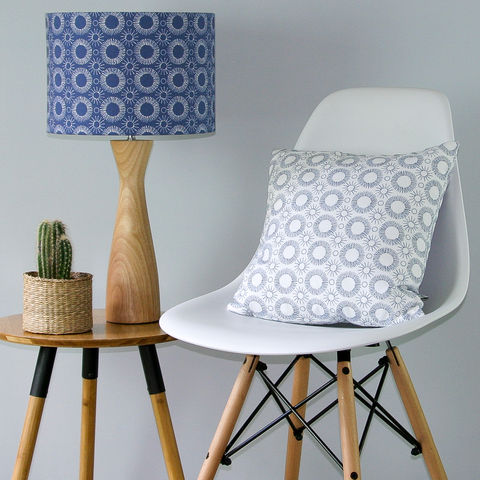contemporary,floral,lampshade,Indigo/White, lighting, Scandinavian, blue, denim, indigo, flower, scandi, embroidery
