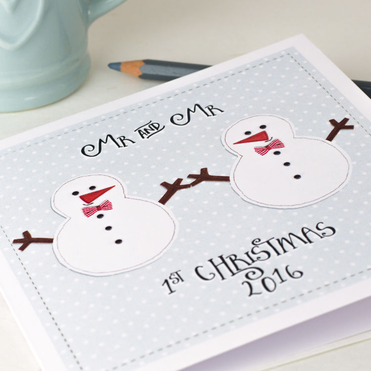 1st Married Christmas Card Snowman Couple - product images  of