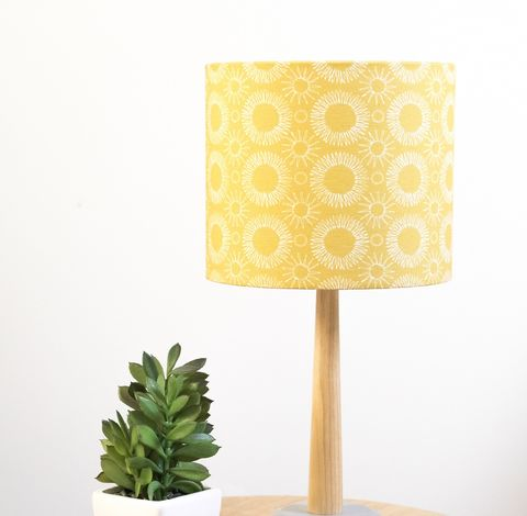 Contemporary,floral,mustard,lampshade, lampshade, drum lampshade, floral, scandi, scandinavian, retro, table lamp shade, small lamp shade, standard lamp shade, drum lamp shade, fabric lamp shade