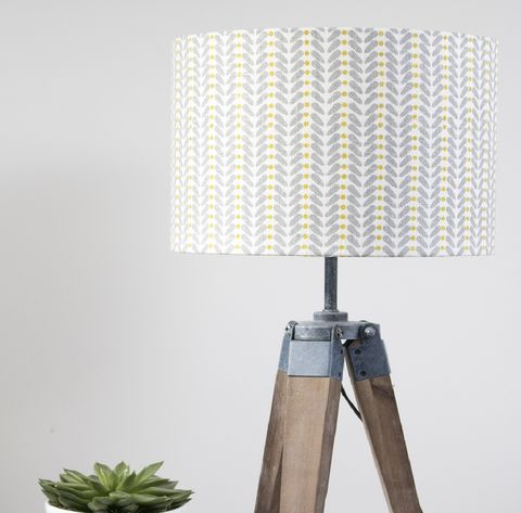 Scandinavian,print,linen,lampshade,Grey,and,yellow,Lampshade, linen, yellow, grey, scandi, scandinavian, interior