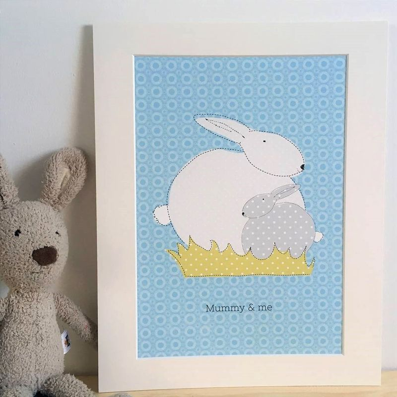 Mummy & me bunny mounted print - product images