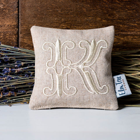 Monogrammed,Linen,Lavender,Pillow,Housewares,mother's_day_gift,Embroidered,pillow,gift,lavender_heart,lavender_sachet,lavender_pillow,embroidery,natural,monogram