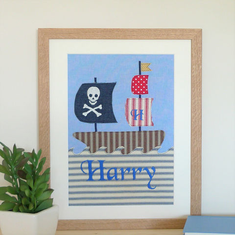 Pirate,ship,personalised,appliqued,and,embroidered,picture,Art,pirate_ship,pirate,wall_art,nursery,kids_room,applique,jolly_roger,elm_tree_textiles,textile_art,childrens_picture,birthday_gift