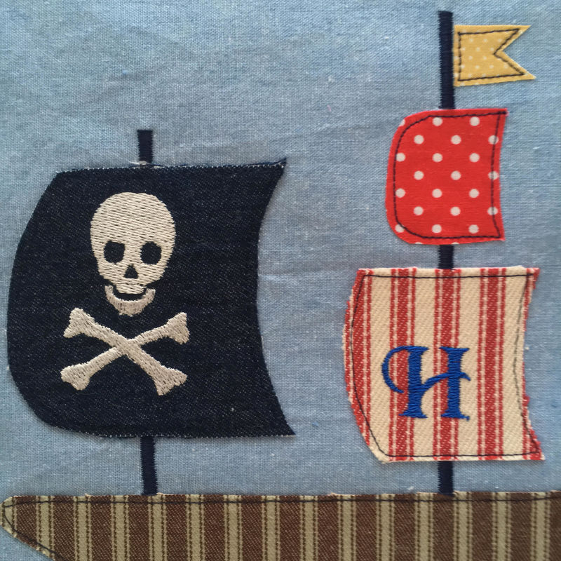 Pirate ship personalised appliqued and embroidered picture - product images  of