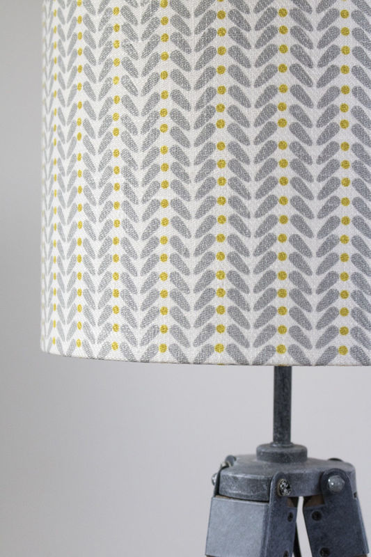 Mustard and grey scandi design linen lampshade - product images  of