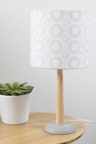 Mid,century,Flower,print,lampshade,grey,on,white,Housewares,Lighting,abstract,modern,original,drum_lampshade,floral,scandi,Mid-century_modern,retro,lighting,lamp_shade,Fabric