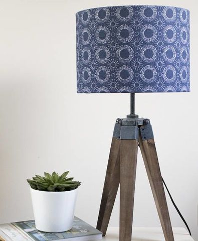 Mid,century,Flower,print,lampshade.,Indigo,Housewares,Lighting,lampshade,indigo,abstract,modern,original,drum_lampshade,floral,blue,white,scandi,lamp_shade,mid-century_modern,retro,Fabric