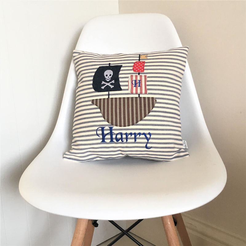 Personalised childrens cushion with Pirate ship applique - product images  of