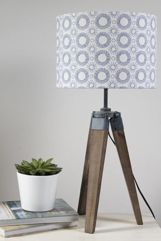 Mid-century,Flower,print,lampshade,indigo,on,white,Housewares,Lighting,abstract,modern,drum_lampshade,blue,mid_century_modern,scandi_style,scandi_home,mid_century_design,scandi_design,scandi