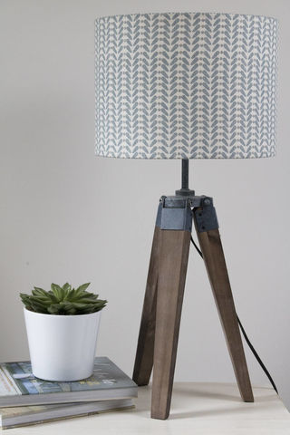 Blue,and,Grey,scandi,linen,print,lampshade,Housewares,Lighting,scandinavian,blue,grey,modern,drum_lampshade,mid-century,lamp_shade,scandi_home,scandi_style,mid-century_modern,Fabric