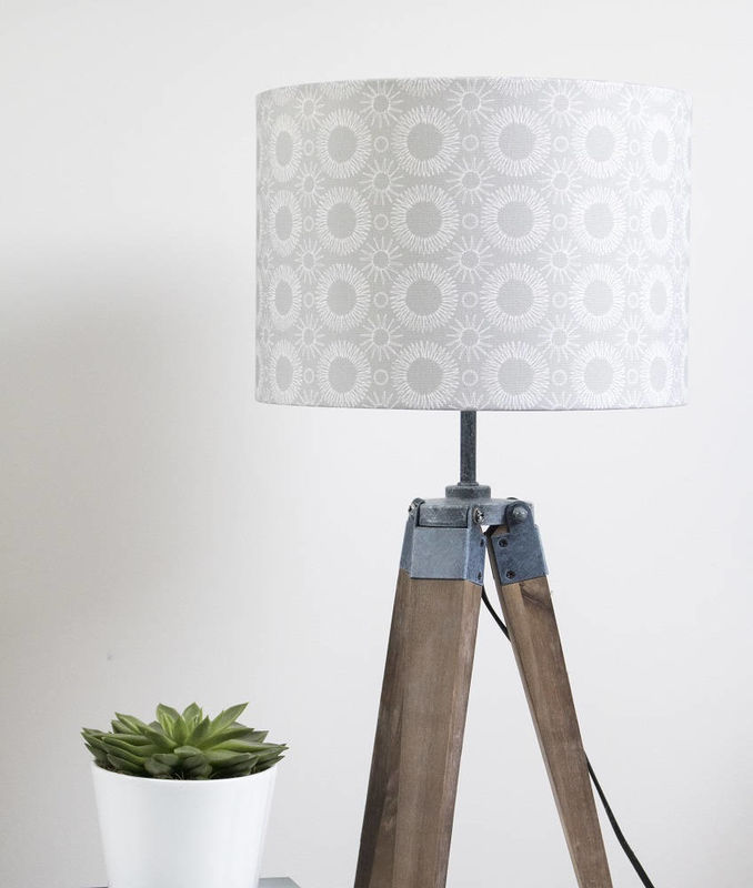 Mid century Flower print lampshade white on grey - product images  of
