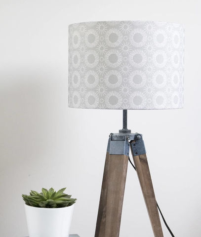 Mid,century,Flower,print,lampshade,white,on,grey,Housewares,Lighting,abstract,modern,original,drum_lampshade,floral,home_and_living,scandi_fabric,mid_century_design,scandi,mid-century_modern,Fabric