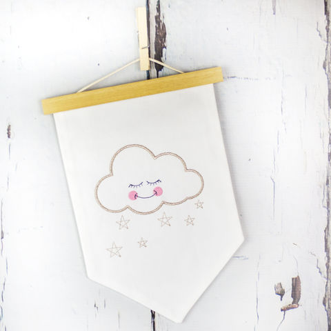 Sleepy,Cloud,Fabric,Wall,Hanging,Housewares,Home_Decor,wall_hanging,pennant,flag,cloud,embroidery,white,banner,scandi_nursery,scandi_cloud,scandi_kids,babys_room,nursery_decor,scandi_style