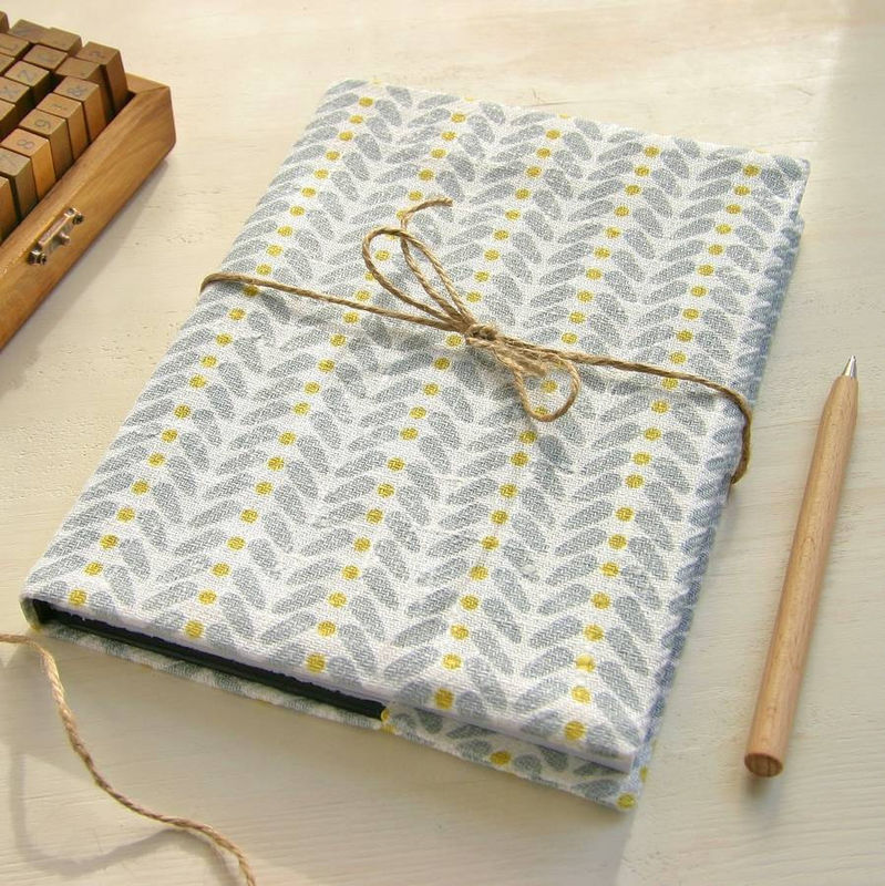 Scandinavian Inspired Print Linen Covered Notebook - product images  of