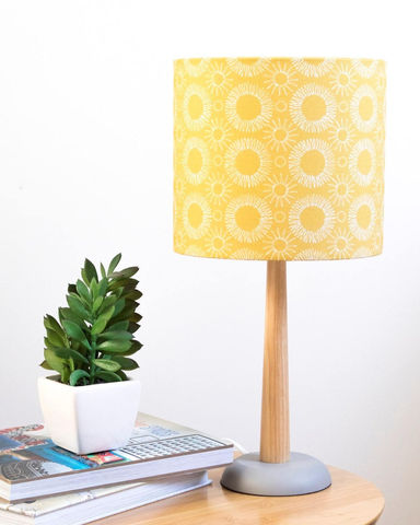 Mid-century,Mustard,Floral,Lampshade,Housewares,Lighting,lampshade,lighting,floral,scandi,flowers,folk_lampshade,retro_lampshade,scandi_fabric,home_living,table_lamp,mid-century_modern,floral_lampshde,Fabric