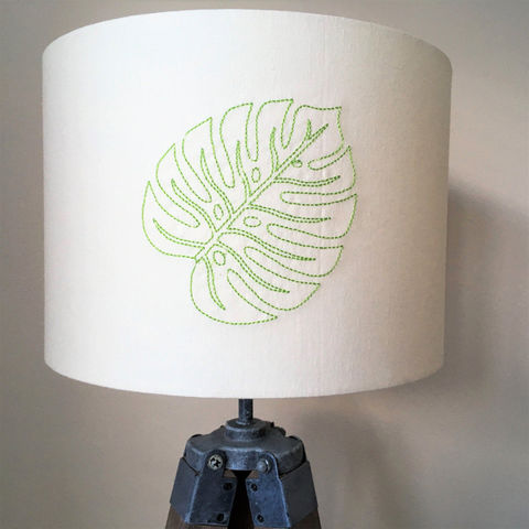 Embroidered,botanical,lampshade,Housewares,Lighting,tropical,cheese_plant,embroidery,tropical_decor,home_decor,tropical_leaf,drum_lampshade,lighting,botanical_home_decor,botanical_home,Fabric