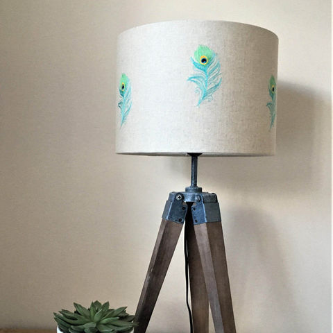 Peacock,Feather,embroidered,on,natural,linen,Lampshade,Housewares,Lighting,peacock,feathers,embroidery,lampshade,lighting,peacock_decor,home_decor,peacock_feather,teal,exotic_decor,blue,statement_lighting,Fabric