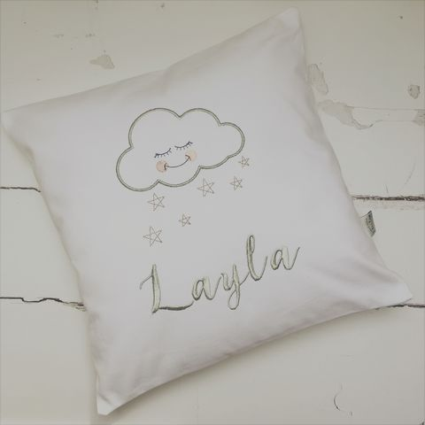 Scandi,Cloud,Nursery,Cushion,Housewares,Pillow,cushion,pillow,white,embroidery,elm_tree_studio,nursery,cloud,star,silver,scandi_nursery,scandi_cloud,scandi_kids,babys_room,Cotton,Feather