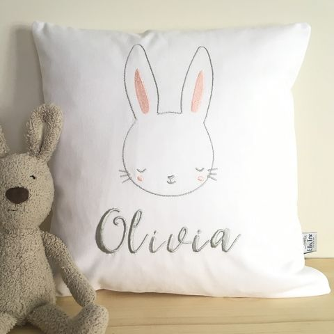 Personalised,nursery,embroidered,bunny,cushion, cushion, personalised, bunny