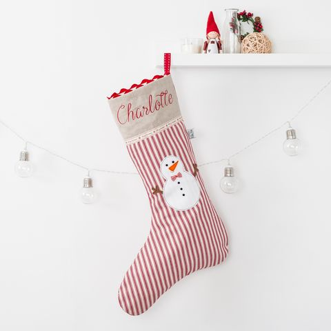 Personalised,Snowman,Christmas,Stocking,Housewares,Home_Decor,personalised,Embroidered,christmas,stocking,handmade,snowman,ticking_stripe,red,linen,christmas_stocking,embroidered_stocking,christmas_decoration,appliqued_stocking