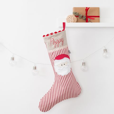 Personalised,Santa,Christmas,stocking,Housewares,Home_Decor,red,santa,father_Christmas,festive,personalised,embroidery,applique,stripe,christmas_stocking,embroidered_stocking,christmas_decoration