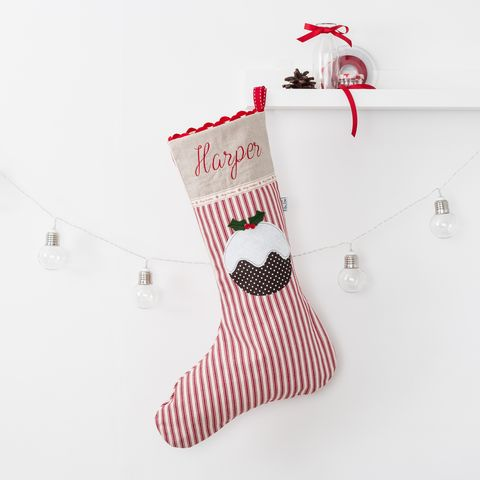 Stripe,Personalised,Christmas,Stocking,with,Pudding,Applique,Christmas stocking, personalised, Christmas pudding, red, linen,applique