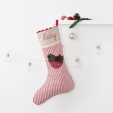 Stripe,Personalised,Christmas,Stocking,with,Robin,Applique,Christmas stocking, personalised, robin, red, linen,applique