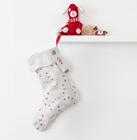 Personalised,Christmas,Stocking,Snowman,Print,christmas stocking, scandi, snowmen, grey