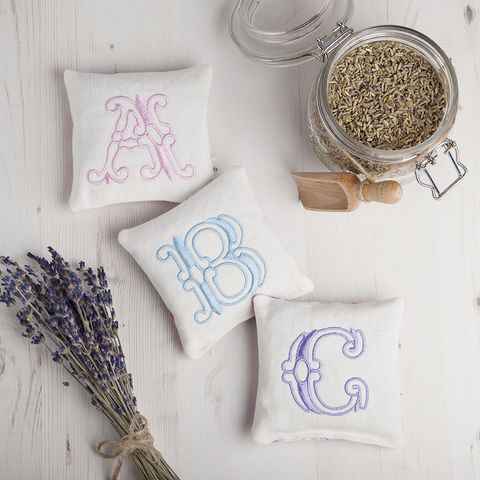 Pretty,Monogrammed,Lavender,Pillow
