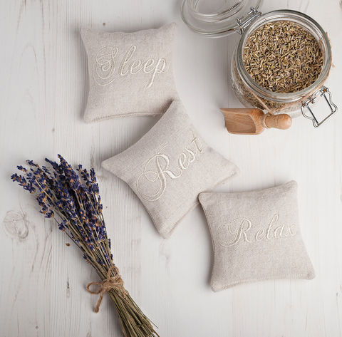 Embroidered,Linen,Lavender,Pillow,set,of,three,Housewares,Scented,pillow,linen,lavender