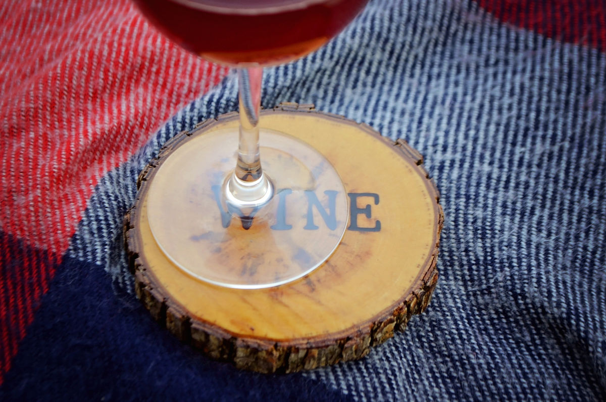 Wood Burned Oak Coasters-Wine - product image