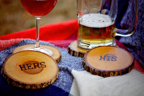 Wood,Burned,Oak,Coasters-,Hers,rustic, wood burned coaster