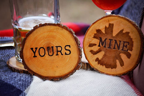 Wood,Burned,Oak,Coasters-,Yours,rustic, wood burned, coaster