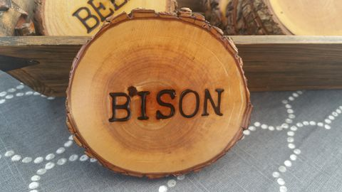 Wood,Burned,Oak,Coasters-,Bison,rustic, wood burned, coaster