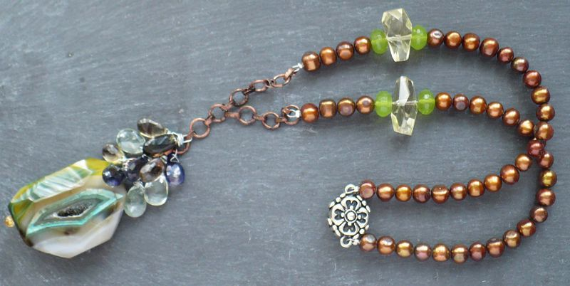 Agate Geode Necklace w Copper Freshwater Pearls & Gemstone Briolettes - product image