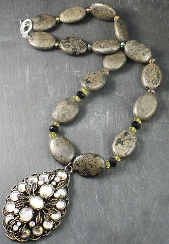 Pyrite,Necklace,and,Antiqued,Faceted,Crystal,Pendant,Pyrite necklace, antique pendant, vintage glamour