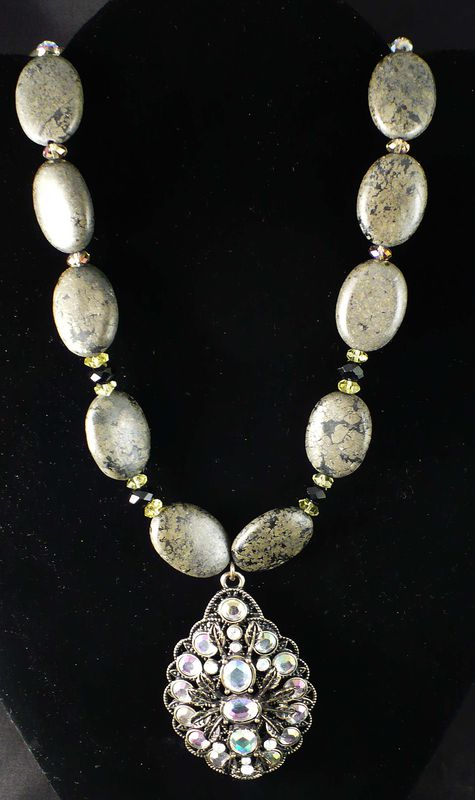 Pyrite Necklace and Antiqued Faceted Crystal Pendant - product image