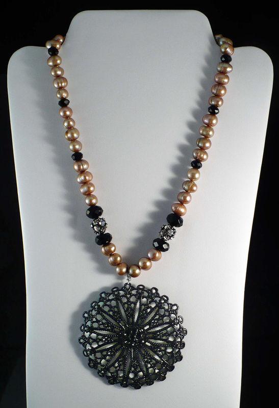 Gold Freshwater Pearl Necklace Large Black Filigree