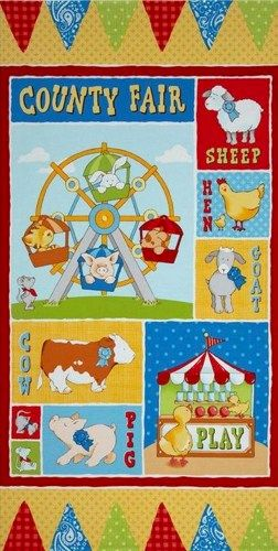 Quilt Fabric Panel Cuteville Country Fair Farm Fabric Baby Animals - product image