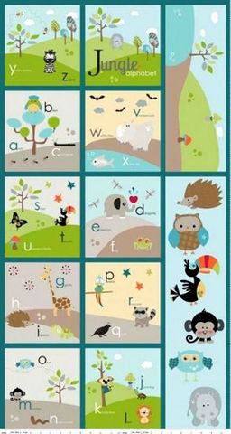 Fabric,Panel,Life,In,The,Jungle,Alphabet,Baby,Quilt,Animals,quilt fabric,cotton material,auntie chris quilt,sewing,crafts,quilting,online fabric,sale fabric