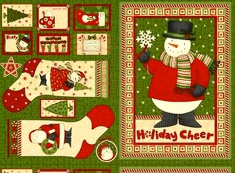 Christmas,Fabric,Panel,Ho,Holiday,Santa,Snowman,Mumm,quilt fabric,cotton material,auntie chris quilt,sewing,crafts,quilting,online fabric,sale fabric