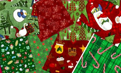Holly Jolly Christmas Fat Quarter Quilt Fabric Medley 2 Yards - product images  of