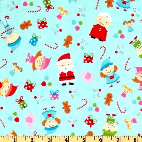 Cotton,Quilt,Fabric,Christmas,Santa's,Workshop,Elves,Ginger,Men,Blue,quilt fabric,cotton material,auntie chris quilt,sewing,crafts,quilting,online fabric,sale fabric