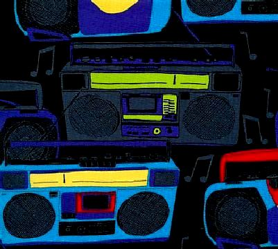Cotton Quilt Fabric Music Boom Box Black Multi Modern  - product image