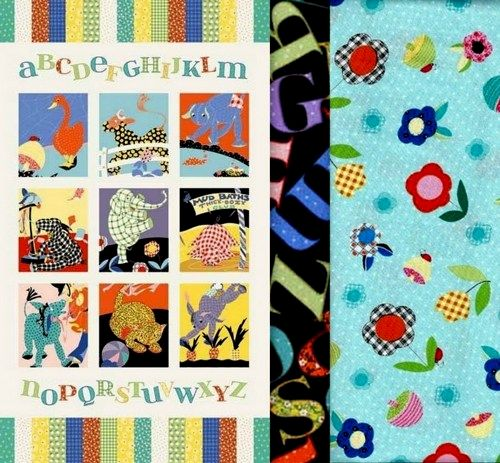 Easy Fabric Panel Quilt Kit Vintage Look Animal Alphabet